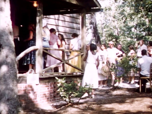 1956 ; Meher Center, Myrtle Beach, SC. ; People entering The Barn to be with Meher Baba. The images were captured by Anthony Zois from a film by Sufism Reoriented.
