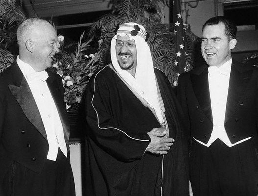 1956 ; King Saud's visit to Washington DC., President Eisenhower and Vice-President Nixon at a state dinner in his honour.
