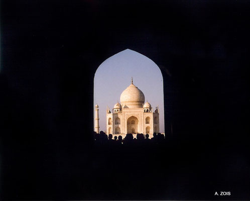 Photo taken by Anthony Zois 1988 - First view of the Taj Mahal through the Keel arch of the Gateway