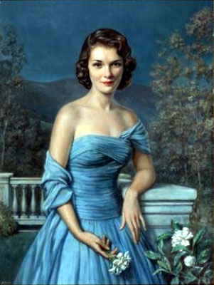 Portrait of lady in blue dress -  1950s