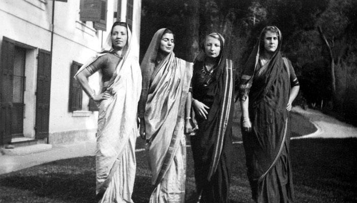 1937, Cannes : ( L-R ) Andree Aron, Anita, Hetti Mertens' nieces & Irene Billo dressed in their saris.