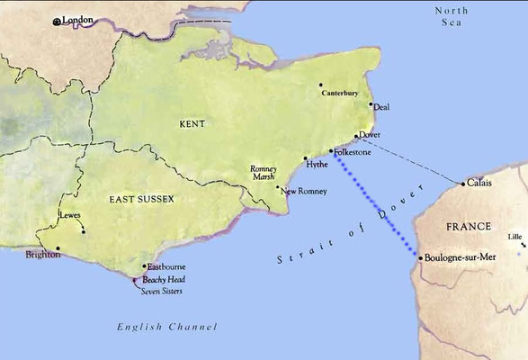 Map of the ferry journey between Boulogne, France & Folkestone, England