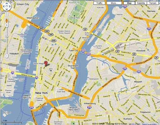 Home location on Manhattan map