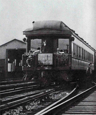 "1930s - Rear of the ""20th Century"" train at Albany. Courtesy of Larry Karresch."