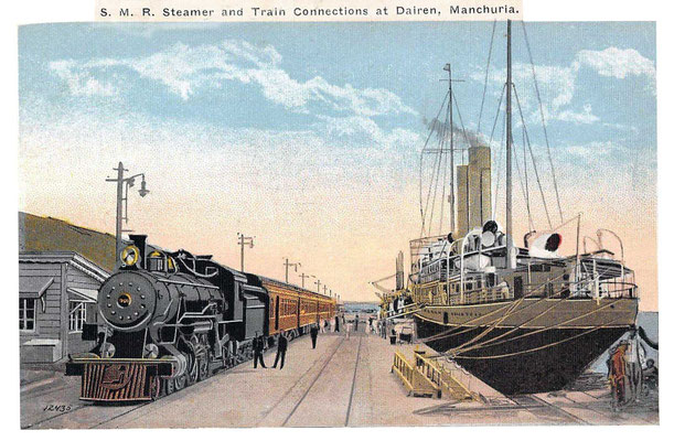 Dairen -South Manchurian Railway train on the wharf and ship