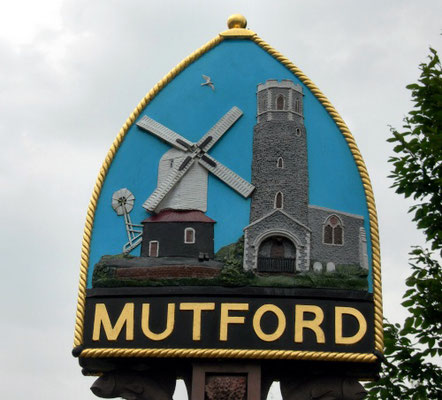 Mutford Town-Sign, Suffolk, England