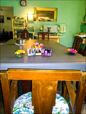 The dining room table, from Baba's side