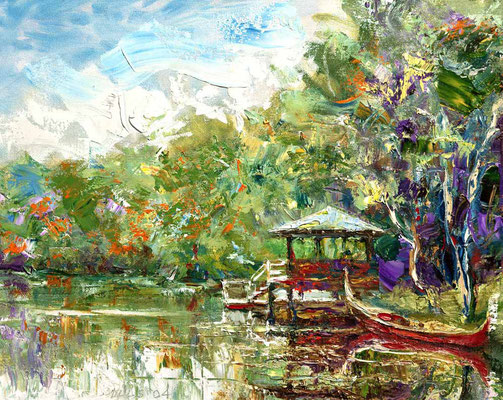 "2004-9 ; The Boathouse in Spring - 12""x16""  - Courtesy of Joe & Elaine Miller"