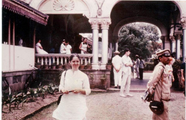 Alice Klein outside Guruprasad Poona, MS, India in 1969 at the Great Darshan with her recorder