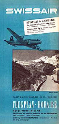 1952 Swissair timetables