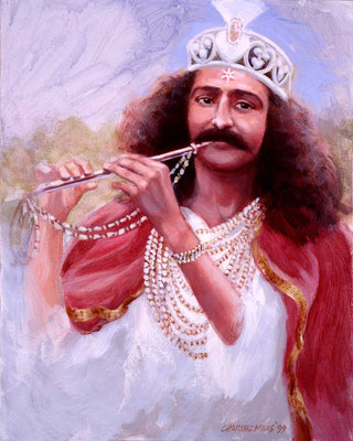 "1999 -#9 ; Baba as Krishna - 20""x16"" - Courtesy of Elaine Miller"