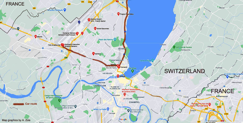 Map detail showing the 3rd stage of the route from Locarno to Geneva & route to the airport later. Map graphics by Anthony Zois.