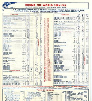 1952 PAN AM FLIGHT TIMETABLE BROCHURE