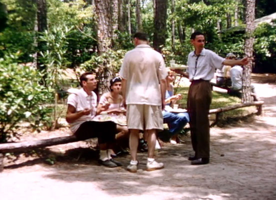 1956 ; Meher Center, Myrtle Beach, SC. ; Group of people having lunch. The images were captured by Anthony Zois from a film by Sufism Reoriented.