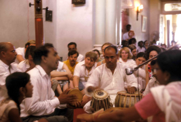 Madhusudan & Eastern musicians. Xavier & Virginia Rudd looking on. Courtesy of Larry & Rita Karrasch
