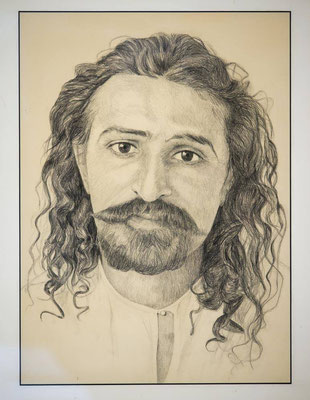 Pencil drawing of Meher Baba in 1920's