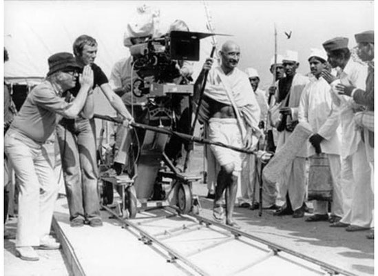 Sir Richard Attenborough directing Ben Kinsley during the making of the film