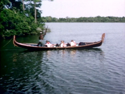 1956 ; Meher Center, Myrtle Beach, SC. ; The gondola on the Center's Long Lake.  The images were captured by Anthony Zois from a film by Sufism Reoriented.