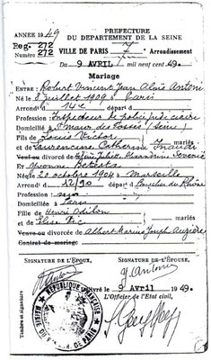 Yvonne & Robert's Marriage Certificate.  Courtesy of Hasan Selisik