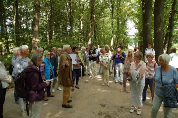 Die Reisgruppe lauscht den Erläuterungen des Gartenarchitekten Antonius Bösterling  (© Ina Homfeld)
