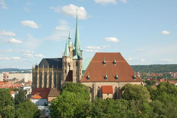 Blick vom Petsersberg auf den Dom von Erfurt (© Ina Homfeld