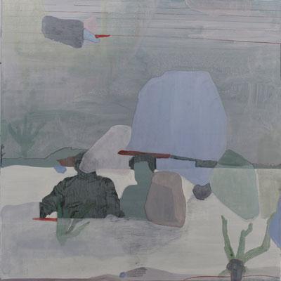 Immergersi nell'acqua | tecnica mista su tela | 80x80 | 2017 | courtesy Galleria Studio d'Arte Cannaviello