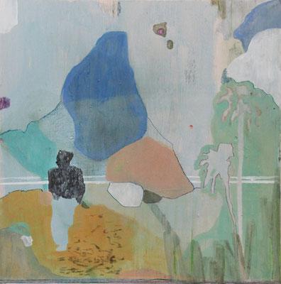 Attesa del fiotto | tecnica mista su pino | 50x50 | 2017 | courtesy Galleria Studio d'Arte Cannaviello