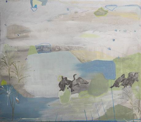 I cormorani | tecnica mista su tela | 70x80 | 2019
