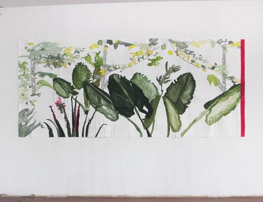 Flora frame #1 | tecnica mista su carta | tecnica mista su carta | 400x172 | 2016-2017 installation view