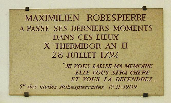 Plaque commémorative de Maximilien Robespierre
