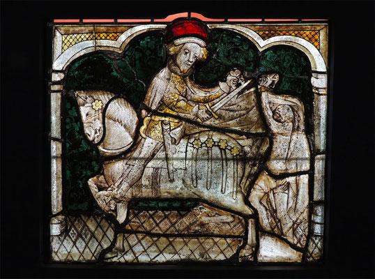 """Vetrata del 15° secolo  """"La Carità di San Martino"""""""