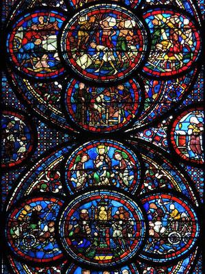 Les vitraux du bas côté Sud du 13ème siècle