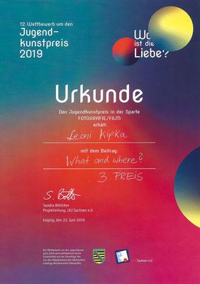 Urkunde von Leoni Kipka für den 3. Preis