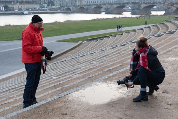 Fotografieren von Panoramafotos von Dresdens Silhouette - Foto: Rita Boden