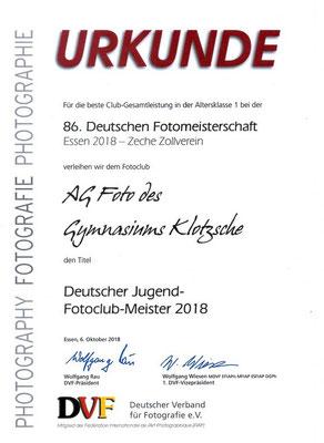 Urkunde Deutscher Jugend-Fotoclub-Meister 2018