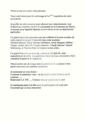 Discours - Plaisir 2011