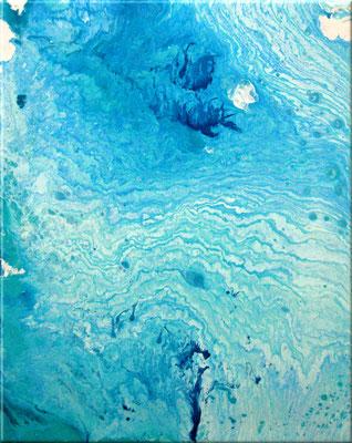 Pouring blau - Acryl auf Leinwand