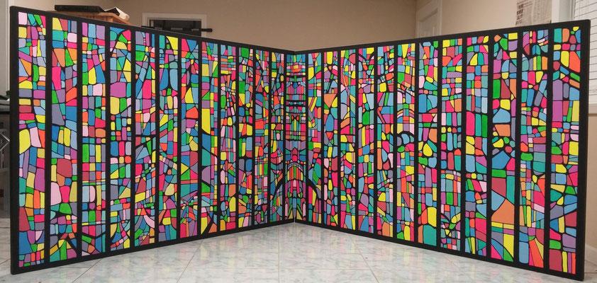 Easter Sunday, Acrylic on canvas, 4 ft x 12 ft