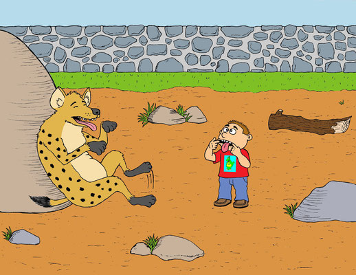 """Children's book page from """"What Did You Do When You Went To The Zoo?"""""""