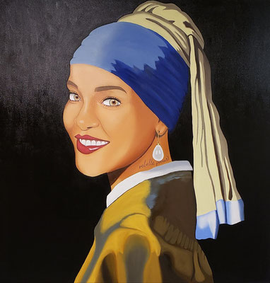 Bajan Girl With The Pearl, Oil, 4ft x 4ft (Commissioned)