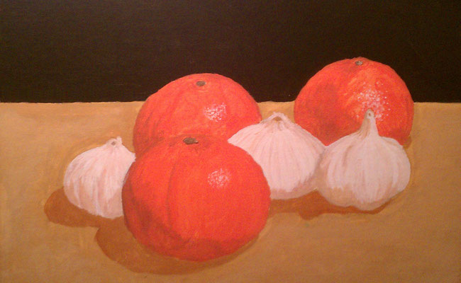 Oranges and Garlic, Acrylic on canvas