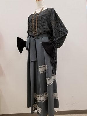 兵児帯のブラウスと羽織からのキュロットパンツ
