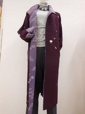 小紋紫合わせコート