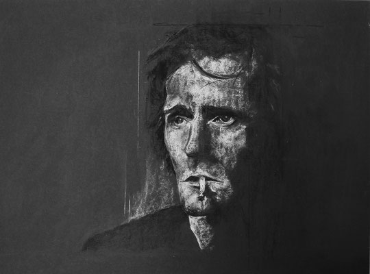 Craie et fusain sur papier (Nino Ferrer) . Disponible