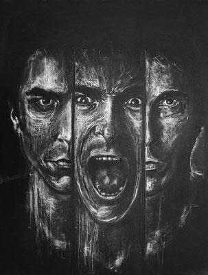 Craie et fusain sur papier (Christian Bale) . Disponible