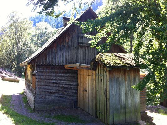 Rückseite der Hütte mit dem Plumsklo und Holzlager