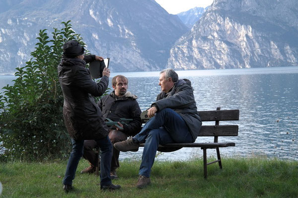 Armando Bellelli con Mauro  Vittorio Quattrina e la giornalista del Corriere che ci ha raggiunti sul set