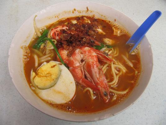 Hokkien Mee (scharfe Nudelsuppe mit Shrimps).