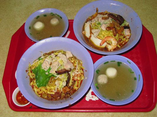 WoW! - Pilz-Fleisch-Nudeln mit Fisch- & Fleischbällchen-Extrabrühe.