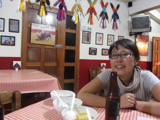 Im Restaurant nach der Ankunft vor unserem ersten echt mexikanischem Essen.